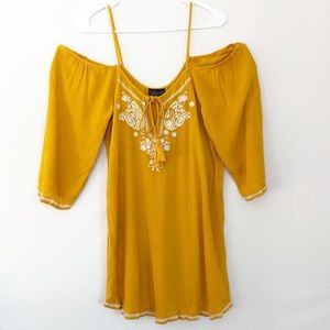Topshop Cold Shoulder Yellow Peasant Tunic Top